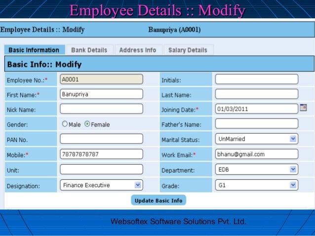 Employee Details :: Modify      Websoftex Software Solutions Pvt. Ltd.