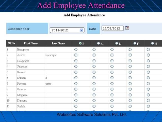 Add Employee Attendance     Websoftex Software Solutions Pvt. Ltd.