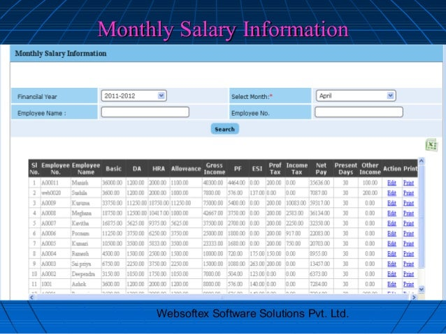 Monthly Salary Information      Websoftex Software Solutions Pvt. Ltd.