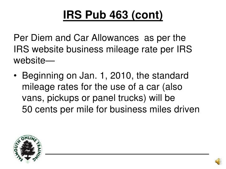 Irs Mileage Allowance >> Travel Policies