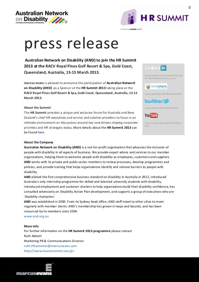 press releaseAustralian Network on Disability (AND) to join the HR Summit2013 at the RACV Royal Pines Golf Resort & Spa, G...