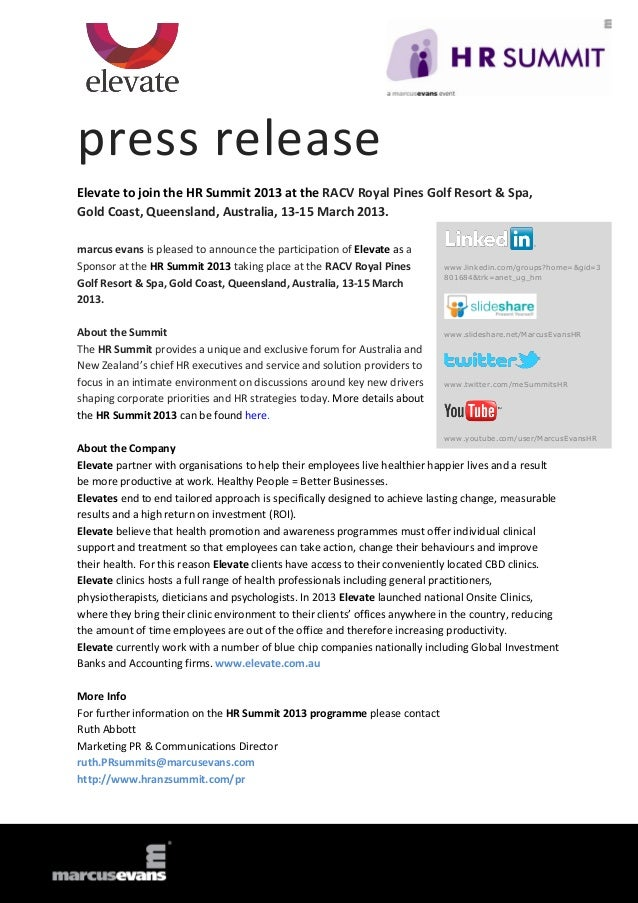 press releaseElevate to join the HR Summit 2013 at the RACV Royal Pines Golf Resort & Spa,Gold Coast, Queensland, Australi...