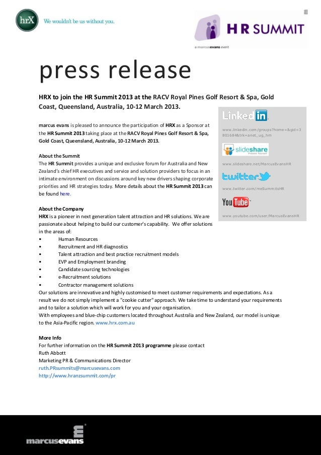 press releaseHRX to join the HR Summit 2013 at the RACV Royal Pines Golf Resort & Spa, GoldCoast, Queensland, Australia, 1...