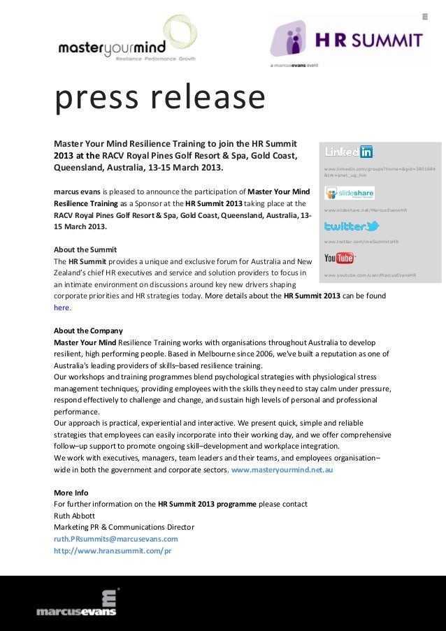 press releaseMaster Your Mind Resilience Training to join the HR Summit2013 at the RACV Royal Pines Golf Resort & Spa, Gol...