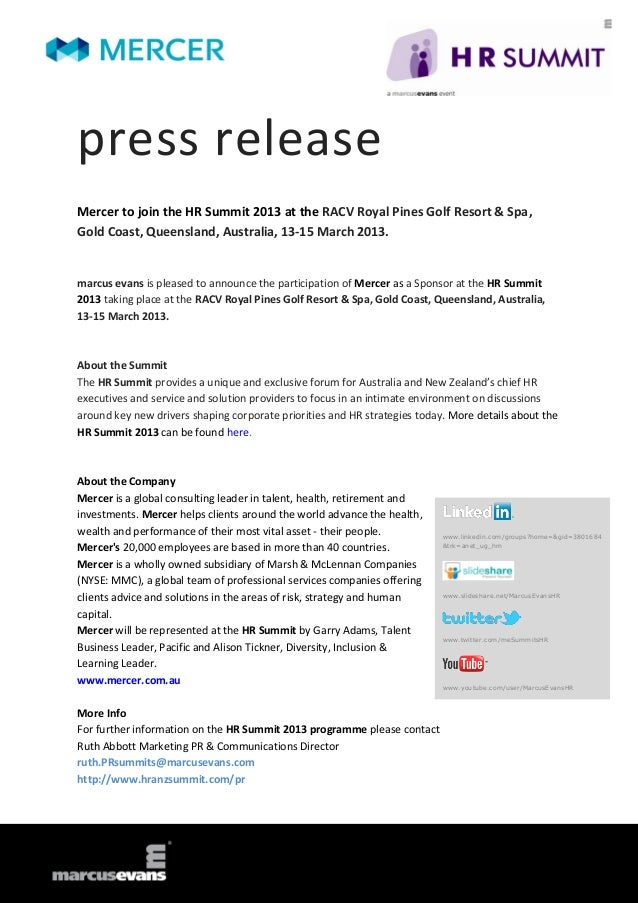 press releaseMercer to join the HR Summit 2013 at the RACV Royal Pines Golf Resort & Spa,Gold Coast, Queensland, Australia...