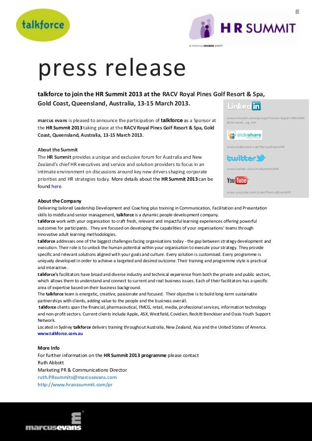 press releasetalkforce to join the HR Summit 2013 at the RACV Royal Pines Golf Resort & Spa,Gold Coast, Queensland, Austra...