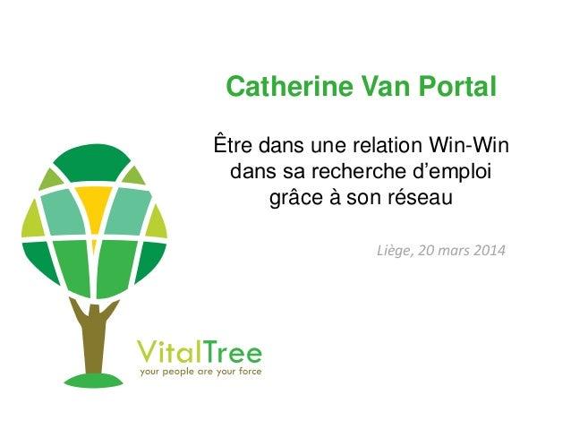 Catherine Van Portal Être dans une relation Win-Win dans sa recherche d'emploi grâce à son réseau Liège, 20 mars 2014
