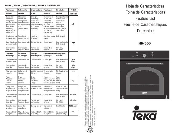 HR-550 Hoja de Características Folha de Caracteristicas Feature List Feuille de Caractéristiques Datenblatt TRADITIONAL Nu...