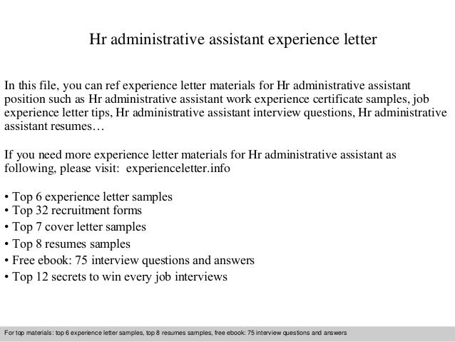 Hr Administrative Assistant Experience Letter In This File, You Can Ref  Experience Letter Materials For ...