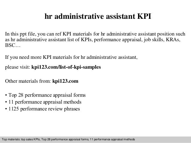hr administrative assistant kpi