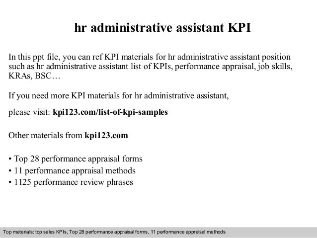 Hr Administrative Assistant KPI In This Ppt File You Can Ref Materials For