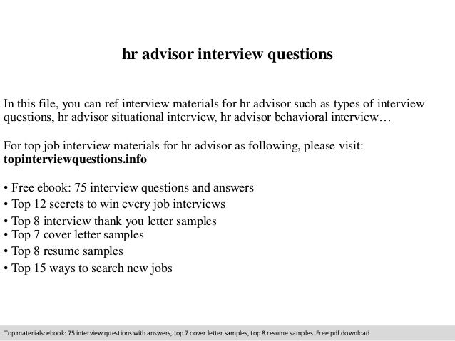 Hr Advisor Interview Questions - Hr Advisor Cover Letter