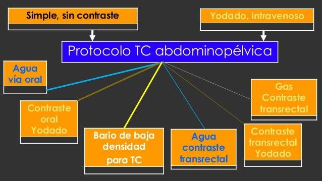 Agua vía oral Bario de baja densidad para TC Yodado, intravenoso Protocolo TC abdominopélvica Contraste oral Yodado Gas Co...