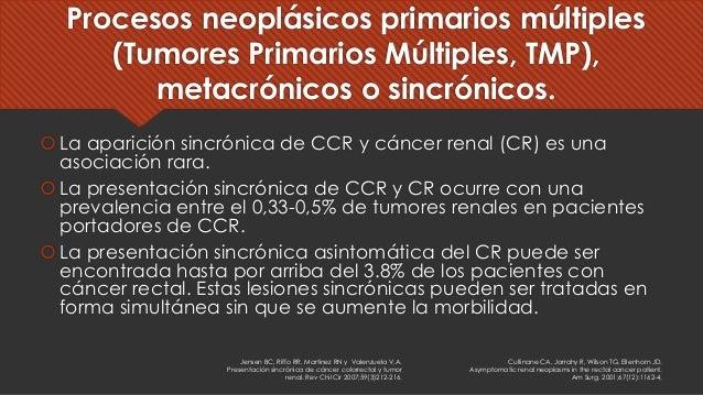 Procesos neoplásicos primarios múltiples (Tumores Primarios Múltiples, TMP), metacrónicos o sincrónicos. šLa aparición sin...