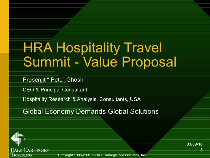 """HRA Hospitality Travel Summit - Value Proposal Prosenjit """" Pete"""" Ghosh CEO & Principal Consultant,  Hospitality Research &..."""