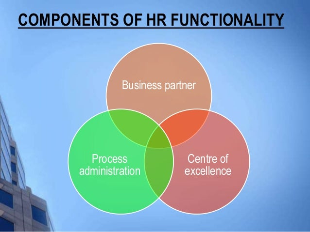 COMPONENTS OF HR FUNCTIONALITY               Business partner        Process              Centre of      administration   ...