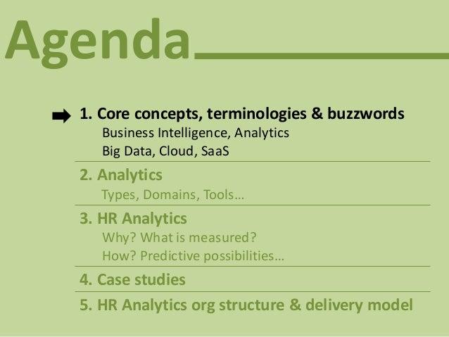 Agenda 1. Core concepts, terminologies & buzzwords Business Intelligence, Analytics Big Data, Cloud, SaaS 2. Analytics Typ...