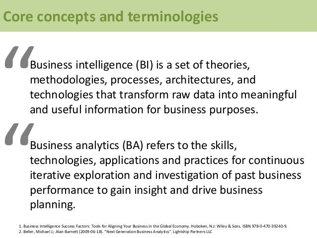 """Core concepts and terminologies """"Business intelligence (BI) is a set of theories, methodologies, processes, architectures,..."""