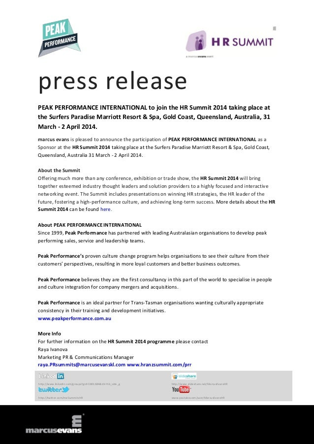 press release PEAK PERFORMANCE INTERNATIONAL to join the HR Summit 2014 taking place at the Surfers Paradise Marriott Reso...