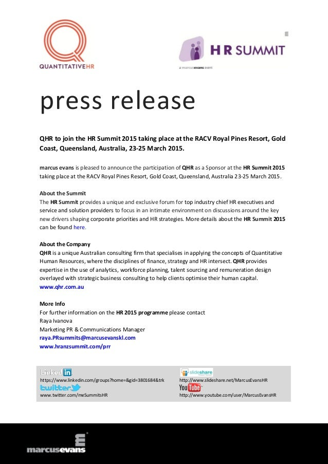press release QHR to join the HR Summit 2015 taking place at the RACV Royal Pines Resort, Gold Coast, Queensland, Australi...