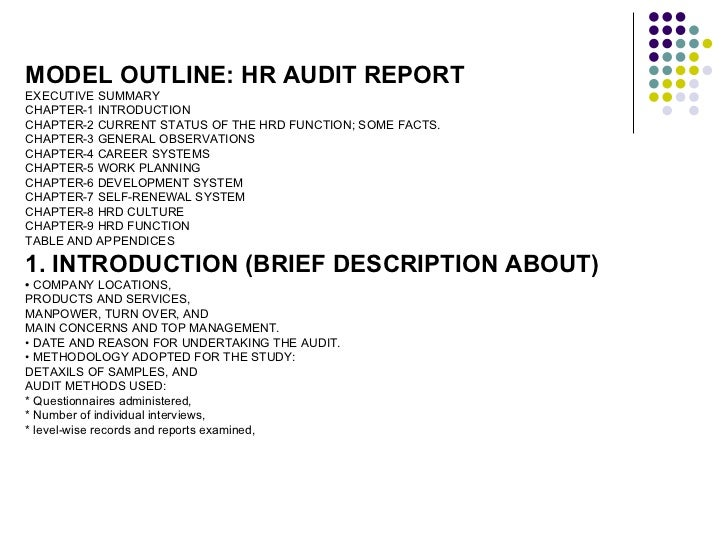 Hr audit for organisations for Sample hr audit report template