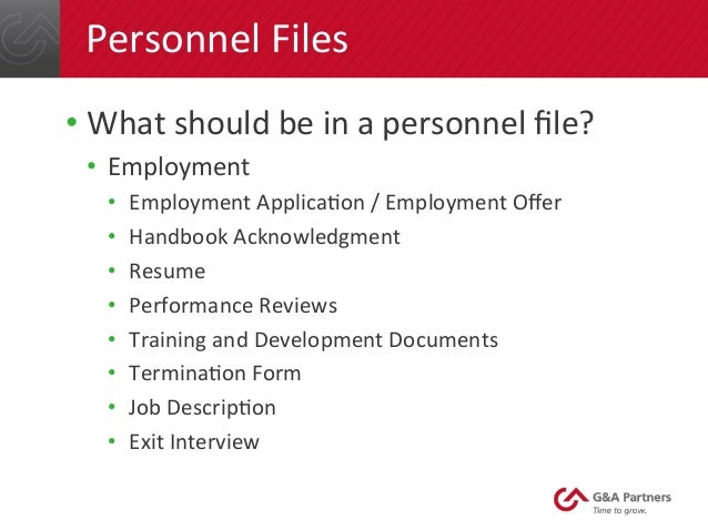 personnel files personnel files 24 personnel files what should be in a