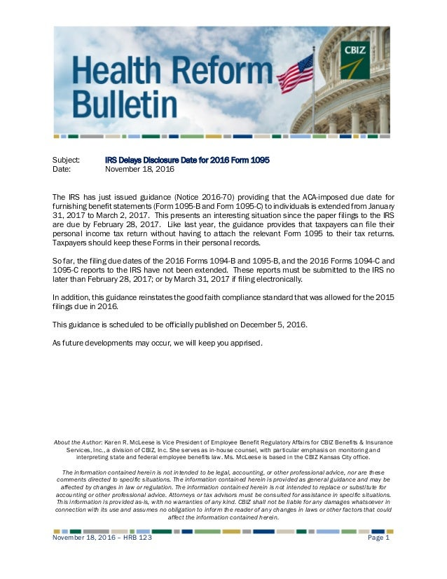 Health Reform Bulletin 123 Irs Delays Disclosure Date For 2016 Form