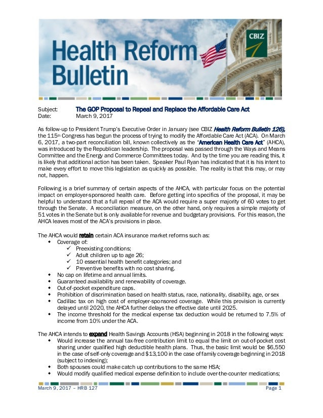 Health Reform Bulletin 127 The Gop Proposal To Repeal And Replace T