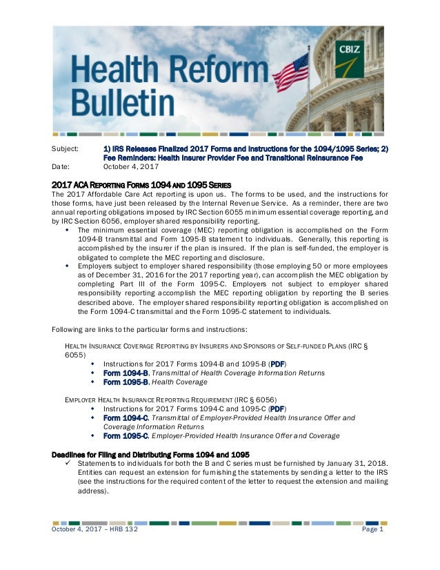 Health Reform Bulletin 132 Irs Releases Finalized 2017 Forms And In