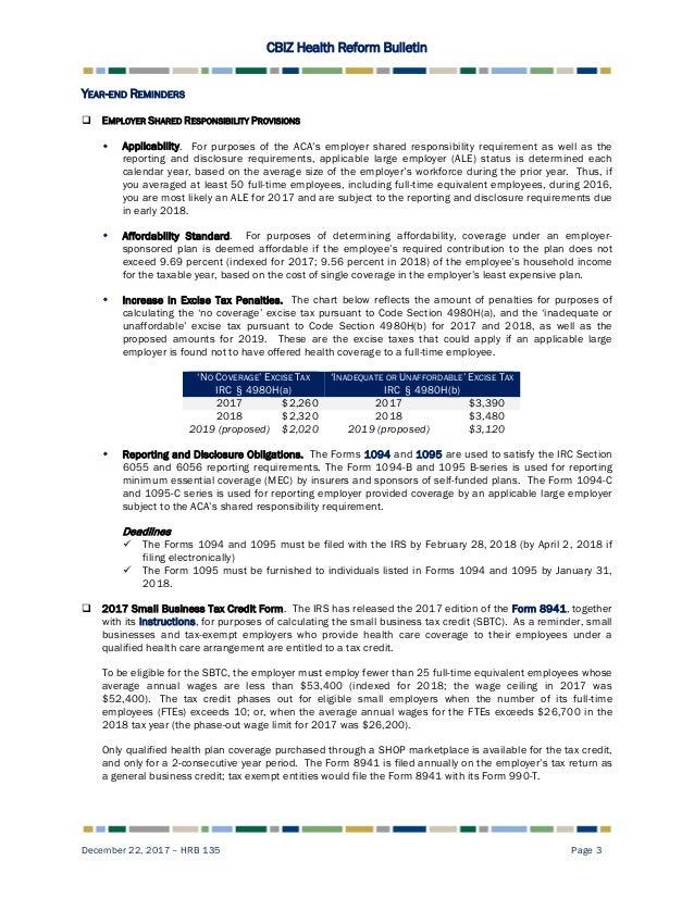 Health Reform Bulletin 135 Repeal Of Individual Penalty Mandate Re