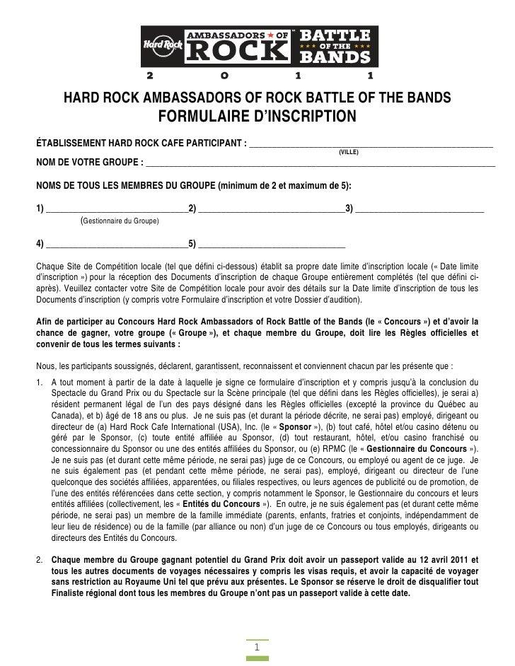 HARD ROCK AMBASSADORS OF ROCK BATTLE OF THE BANDS                                   FORMULAIRE D'INSCRIPTION ÉTABLISSEMENT...