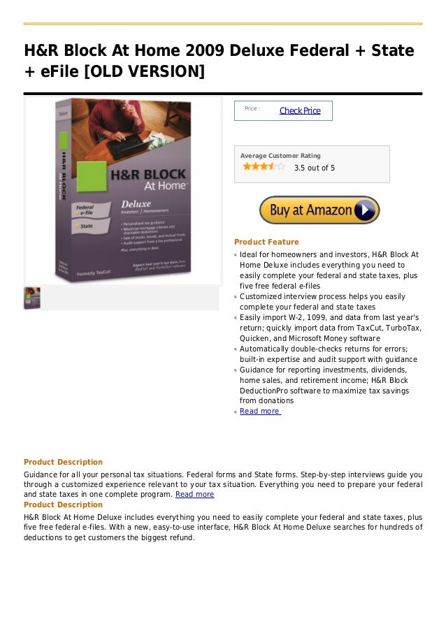 H&R Block At Home 2009 Deluxe Federal + State+ eFile [OLD VERSION]                                                        ...