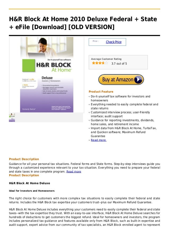 H&R Block At Home 2010 Deluxe Federal + State+ eFile [Download] [OLD VERSION]                                             ...