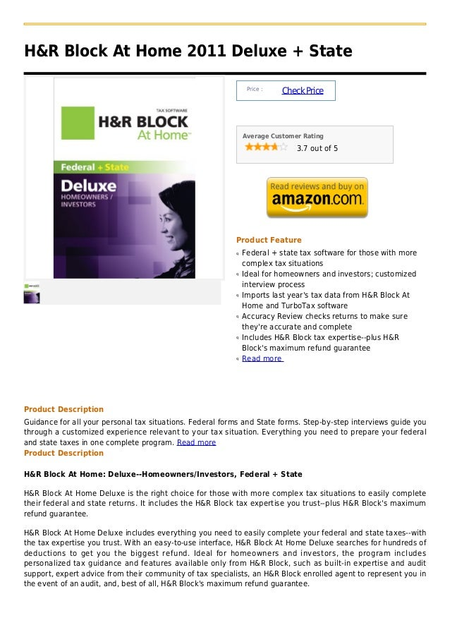H&R Block At Home 2011 Deluxe + State                                                               Price :               ...