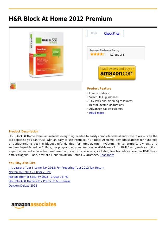 H&R Block At Home 2012 Premium                                                               Price :                      ...