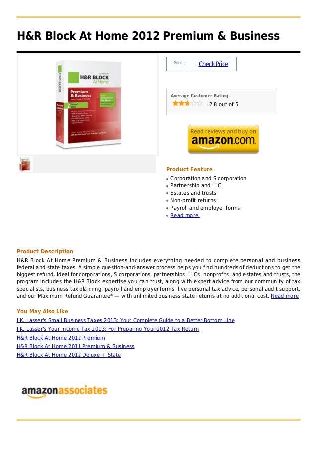 H&R Block At Home 2012 Premium & Business                                                                 Price :         ...