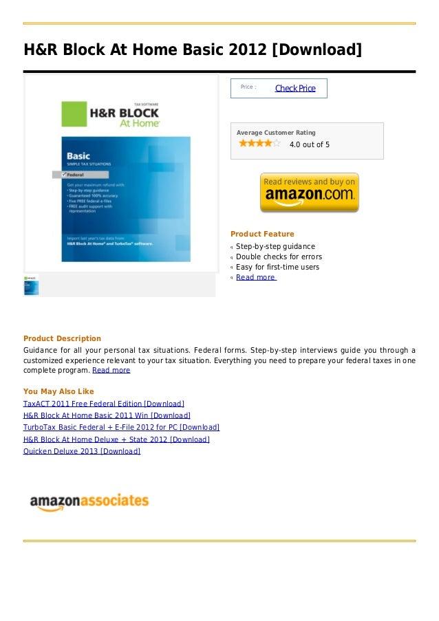H&R Block At Home Basic 2012 [Download]                                                               Price :             ...