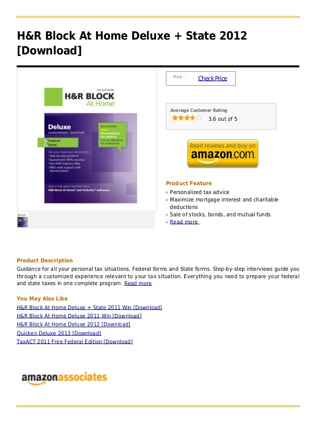H&R Block At Home Deluxe + State 2012[Download]                                                               Price :     ...