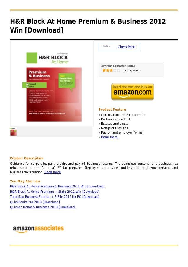 H&R Block At Home Premium & Business 2012Win [Download]                                                             Price ...