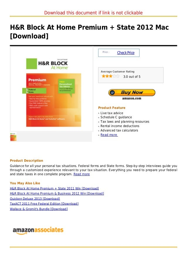 Download this document if link is not clickableH&R Block At Home Premium + State 2012 Mac[Download]                       ...