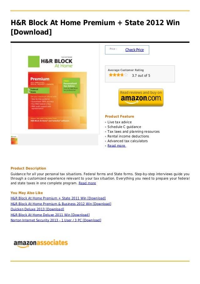 H&R Block At Home Premium + State 2012 Win[Download]                                                                Price ...