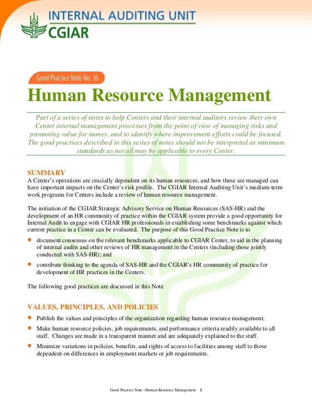 Human Resource Management Part of a series of notes to help Centers and their internal auditors review their own Center in...