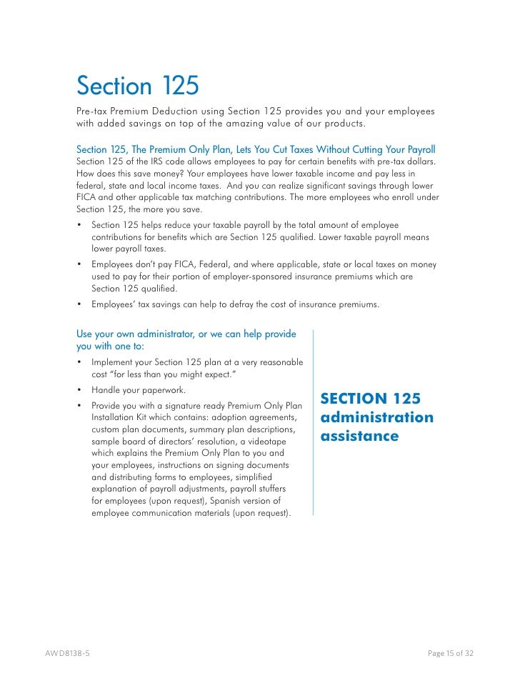 Awd overview for Section 125 plan document template