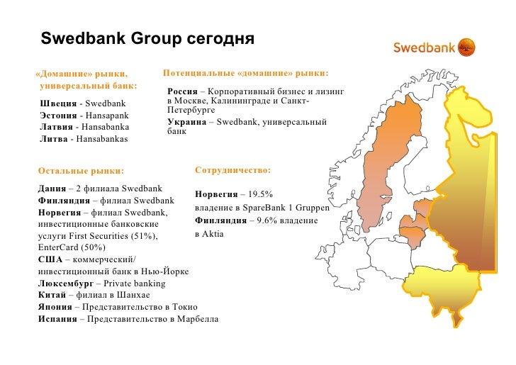 Swedbank Group сегодня «Домашние» рынки,         Потенциальные «домашние» рынки:  универсальный банк:                     ...