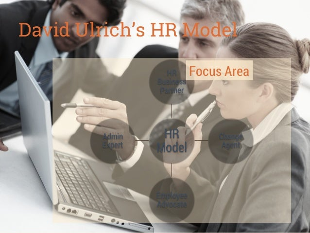 David Ulrich's HR Model HR Business Partner  Admin Expert  HR Model  Employee Advocate  Focus Area  Change Agent