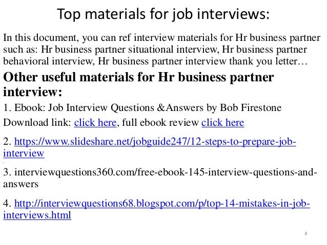 52 HR business partner interview questions and answers pdf