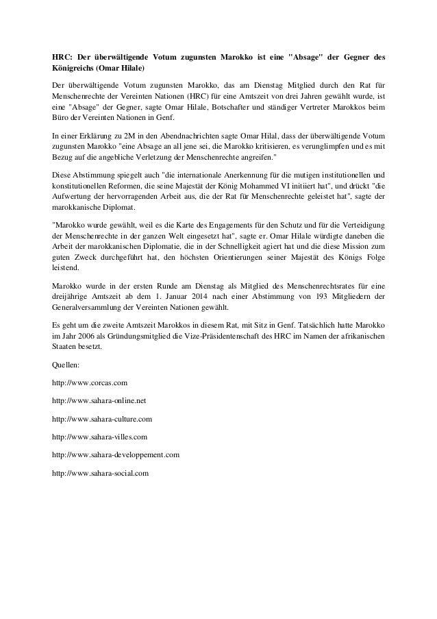 """HRC: Der überwältigende Votum zugunsten Marokko ist eine """"Absage"""" der Gegner des Königreichs (Omar Hilale) Der überwältige..."""