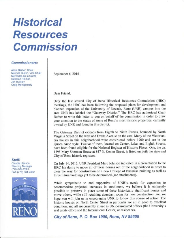 Historical Resources Staff: Claudia Hanson Planning Manager (775) 334-2381 FAX (775) 334-2382 Commission Commissioners: Al...