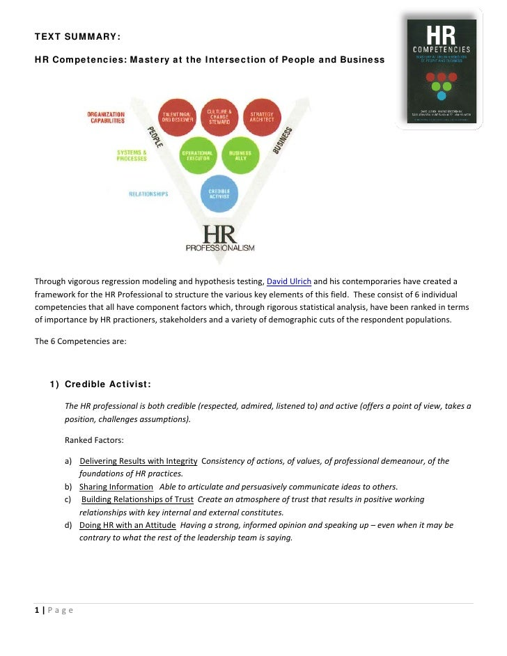 TEXT SUMMARY:  HR Competencies: Mastery at the Intersection of People and Business                                        ...