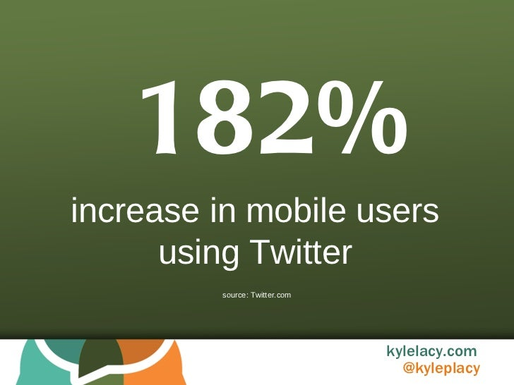 182% increase in mobile users using Twitter source: Twitter.com